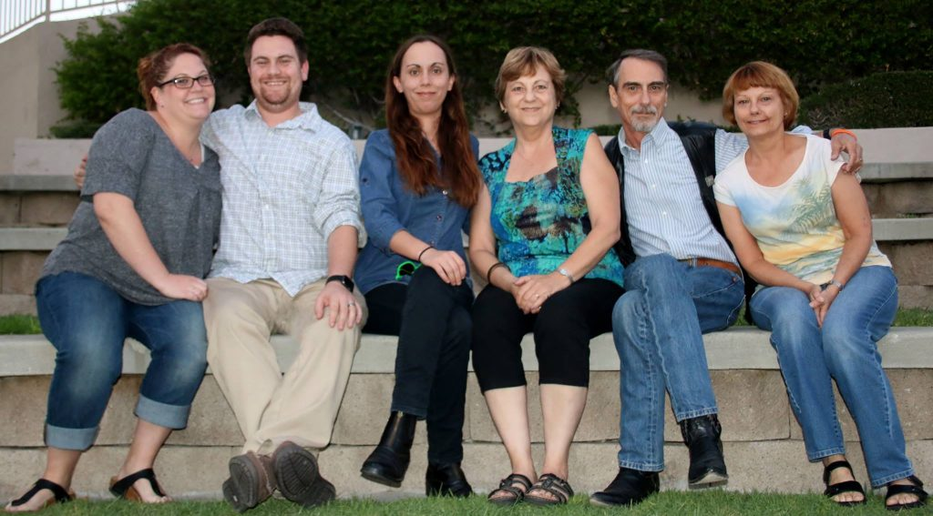 The Peeples family: Jessica Posner Peeples; Scot L. Peeples; Veronica J. Peeples; Nadine A. Peeples; Stephen K. Peeples; and Ruth L. Peeples, Valencia, California, 2017.