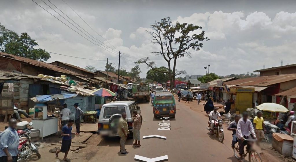 Kampala, Uganda, street scene. Screen cap from Google Earth.