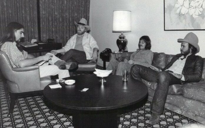 Stephen K. Peeples interviews ZZ Top's Dusty Hill, Frank Beard and Billy Gibbons at the Fairmont Hotel, Dallas, Nov. 29, 1975.