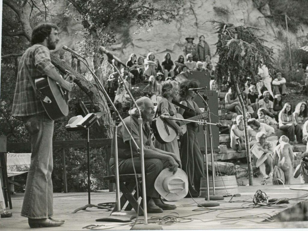Will Geer onstage with at the Theatricum Botanicum local performers, late '60s.