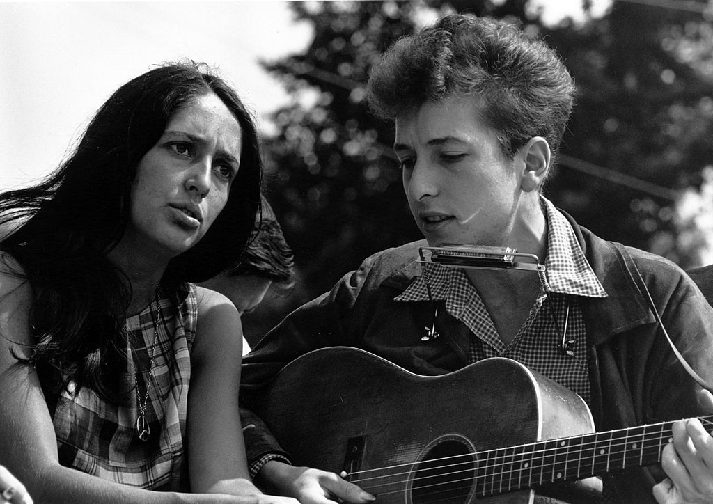 "Joan Baez and Bob Dylan performed at the civil rights ""March on Washington for Jobs and Freedom"" on August 28, 1963. Photo"": Rowland Scherman - U.S. National Archives and Records."