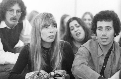"Joni Mitchell, Cass Elliot and David Geffen at Boyd Elder's ""Chingadero Show,"" Venice, California, April 2, 1972. Photo: Henry Diltz."
