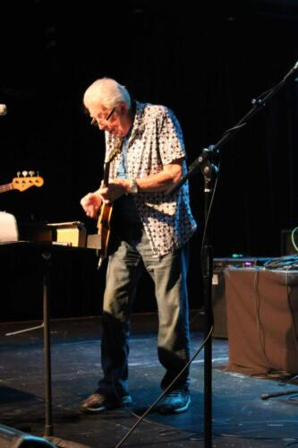 John Mayall with Greg Rzab (bass), Jay Davenport (drums) and Carolyn Wonderland (guitar), The Rose, Pasadena, Jan. 25, 2020. Photo: Stephen K. Peeples.