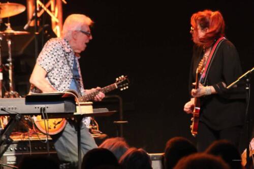 John Mayall with Greg Rzab (bass), Jay Davenport (drums) and Carolyn Wonderland (guitar), The Rose, Pasadena, Jan. 25, 2020. Photo: Stephen K. Peeples.