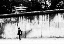 Berlin wall with watchtower