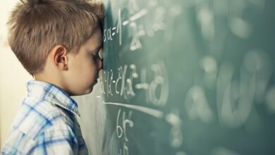 Boy struggling to learn math