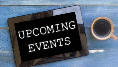 Upcoming Event on tablet with coffee cup