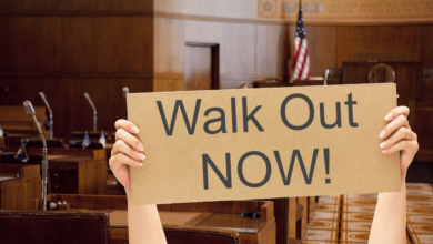 WALK-OUT-sign in Oregon State capitol