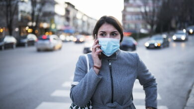 Woman wearing Face mask in city