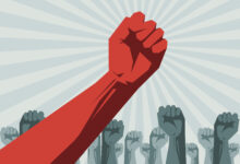 Red fist of socialist teachers unions ruling the mobs