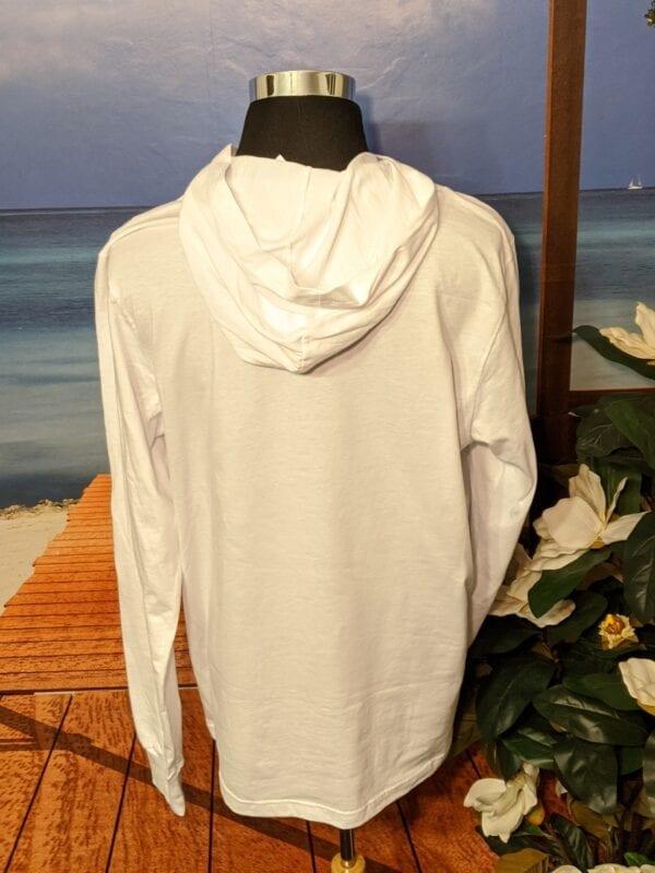 Back of white lightweight hoodie