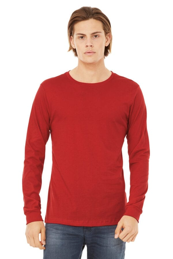 Man in red long sleeve shirt
