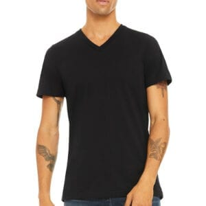 Man in black V-Neck t-shirt