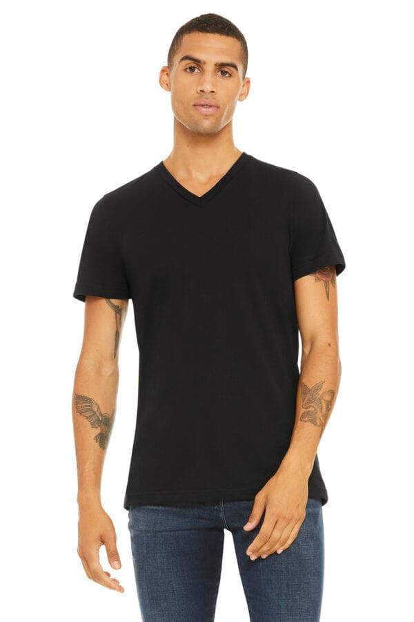 Man in black V-Neck t-shirt