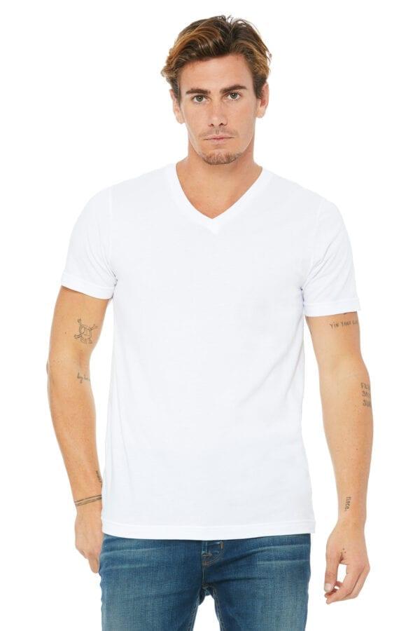 Man in white V-neck T-shirt