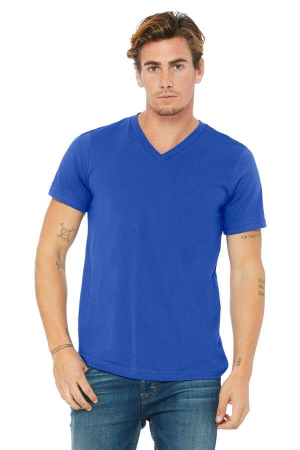 Man in Royal Blue V-neck T-shirt