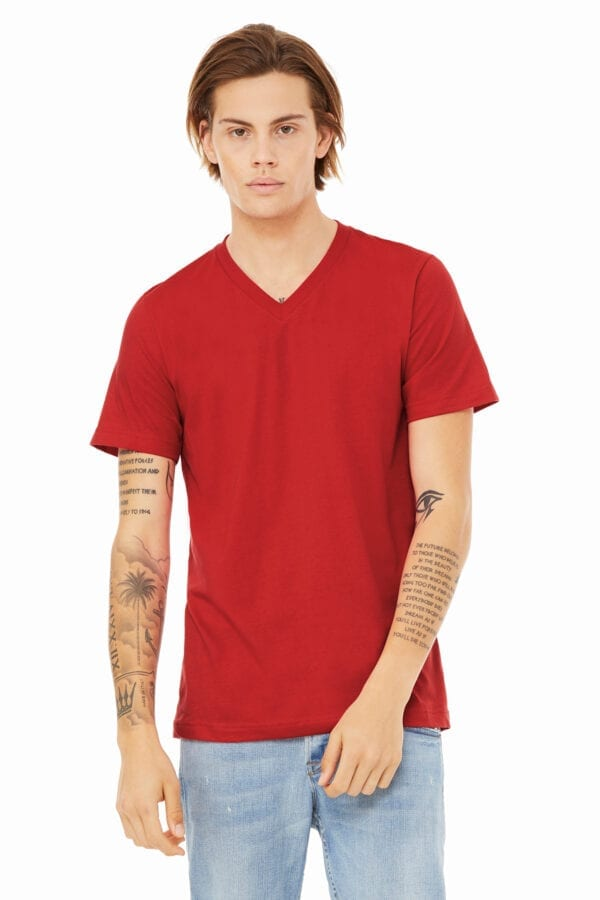 Man in red V-neck T-shirt