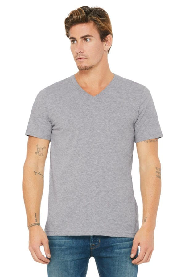 Man in Athletic Heather V-neck T-shirt