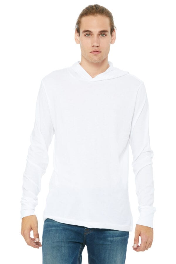 Man in white lightweight long sleeve hoodie