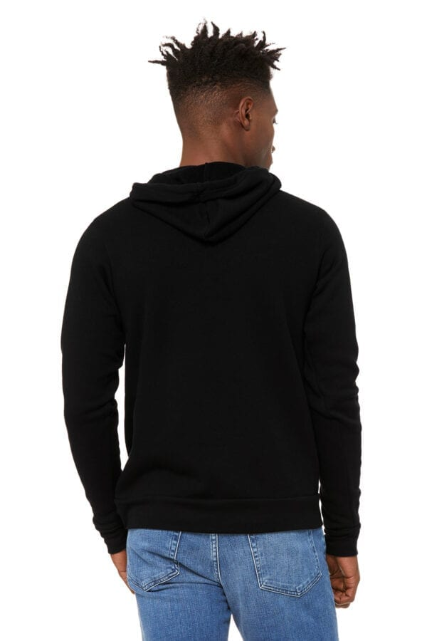 Man in black hoodie with kangaroo pouch