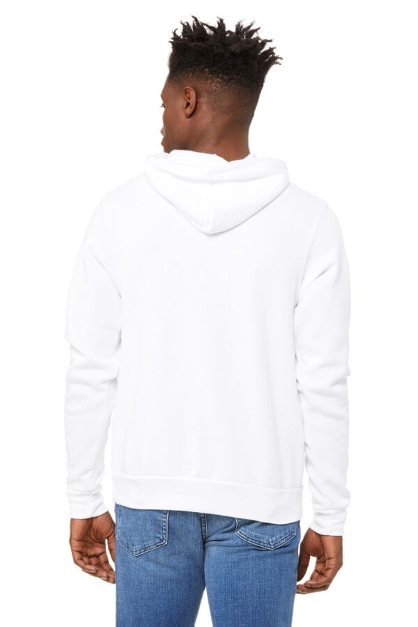 Man in white hoodie with kangaroo pouch