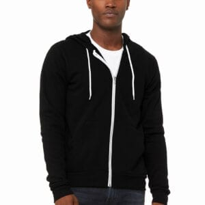 Man in black hoodie with zipper