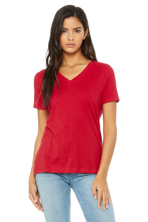 Woman in red V-neck T-shirt
