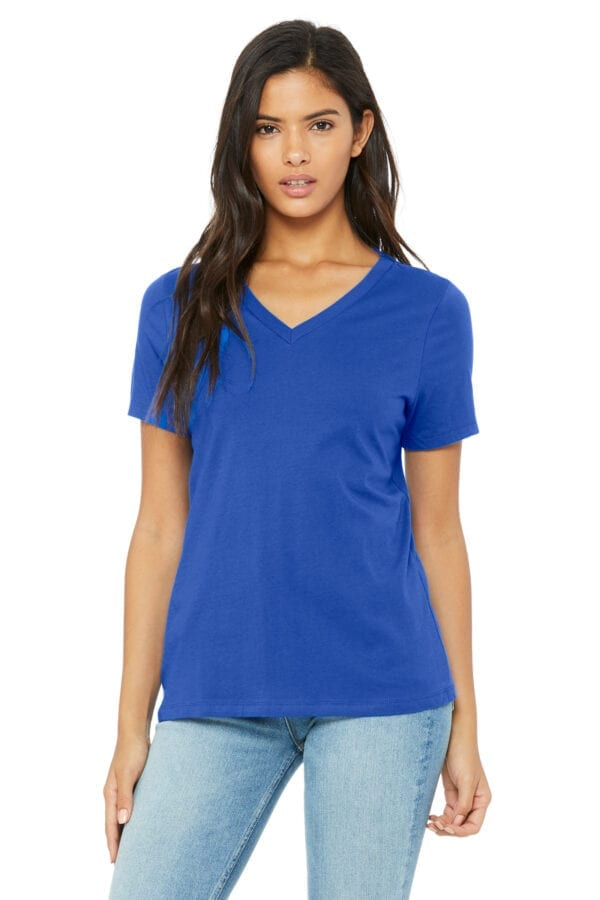 Woman in blue V-neck T-shirt