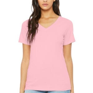 Woman in pink V-neck T-shirt