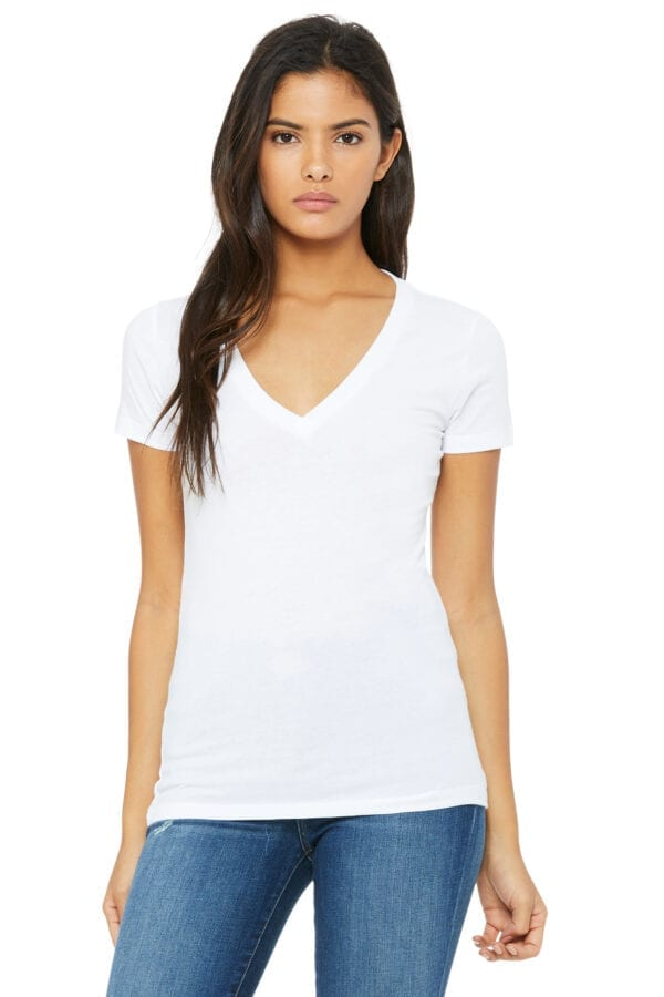 Woman in white deep V-neck T-shirt