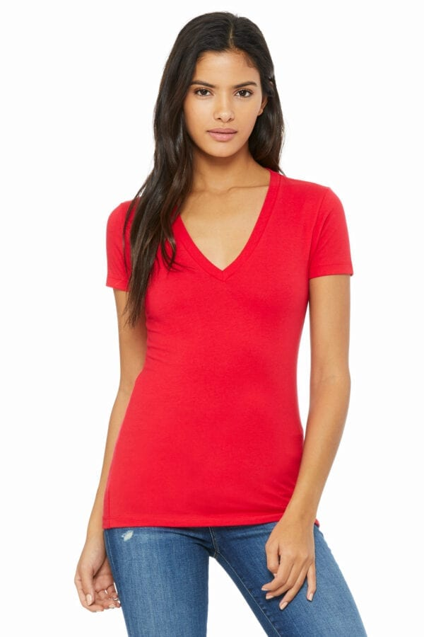 Woman in red deep V-neck T-shirt