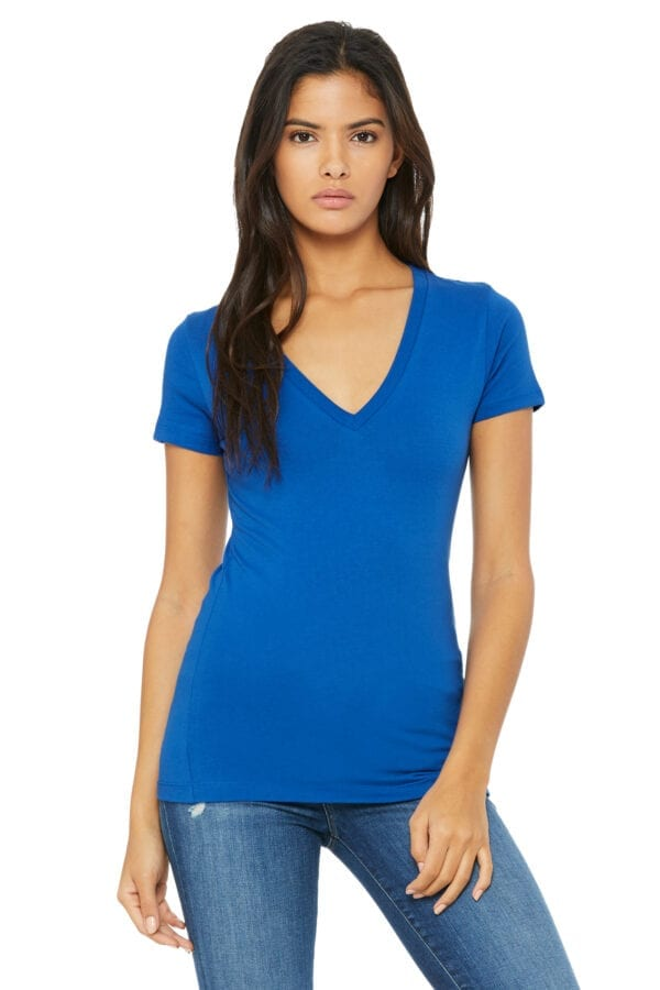 Woman in blue deep V-neck T-shirt
