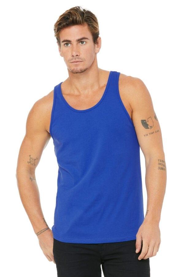 Man in blue tank top