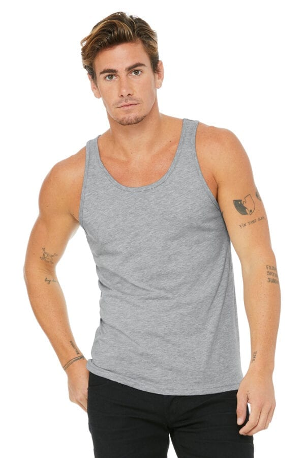 Man in athletic heather tank top