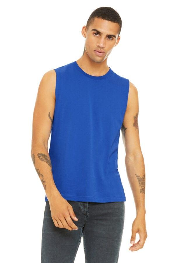 Man in blue muscle tank
