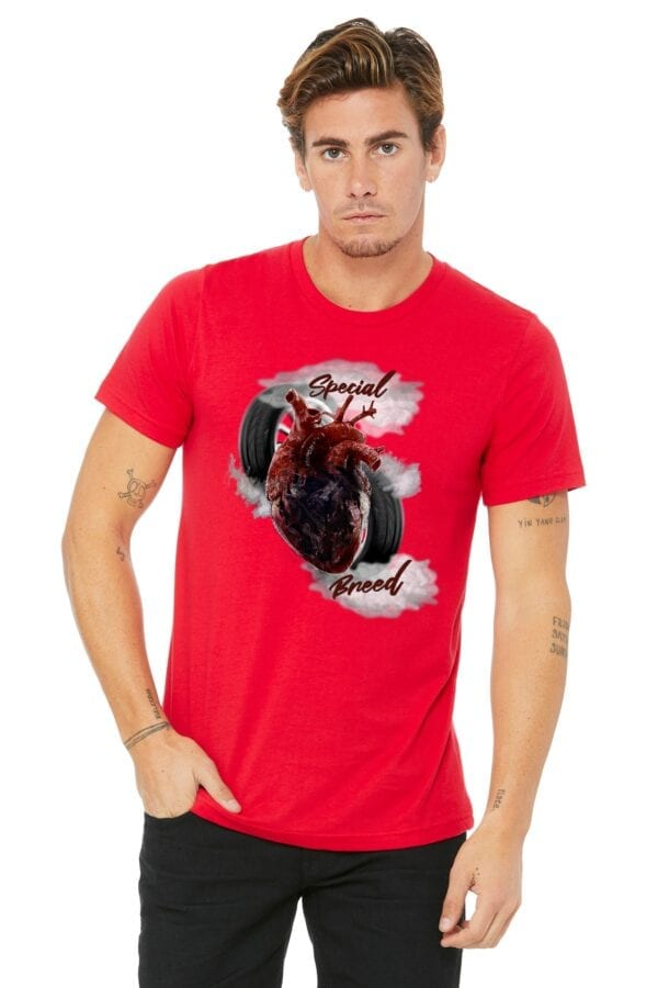 special breed heart on red shirt