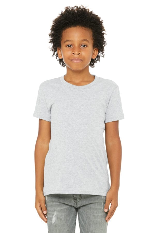 Kid in athletic heather t shirt