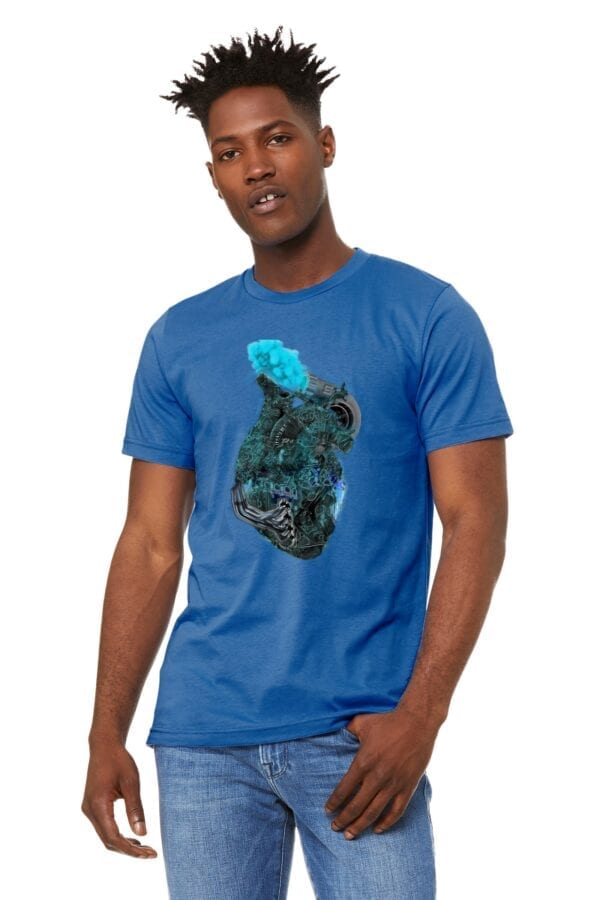man in blue shirt with 4 cylinder heart