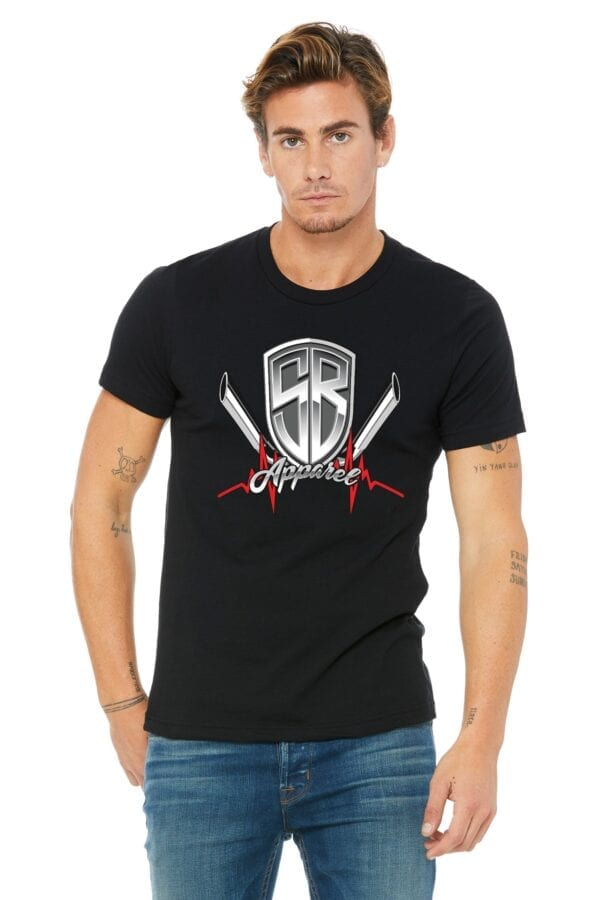 Man in black shirt with special breed logo