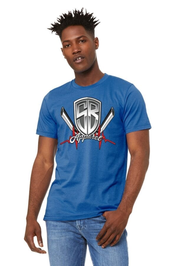 man in blue shirt with special breed logo