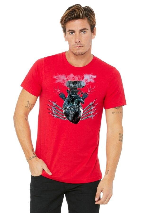 blower heart on red shirt