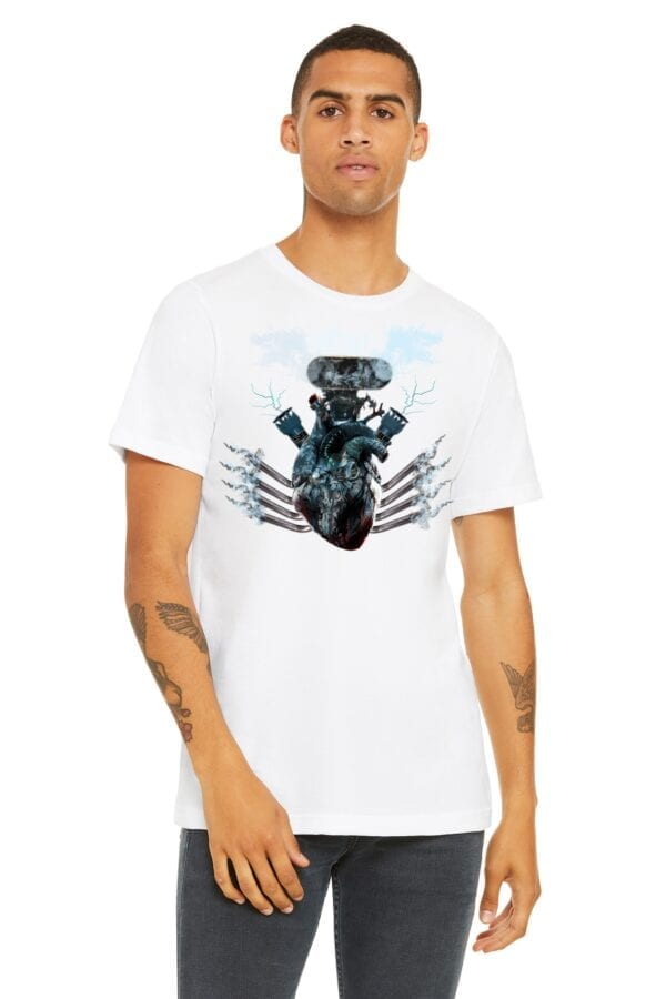 blower heart on white shirt