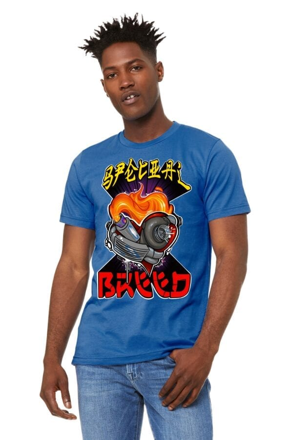 import design on blue shirt