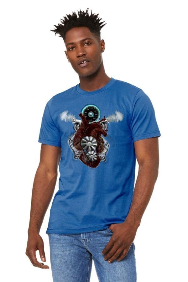 v8 turbo heart on blue shirt