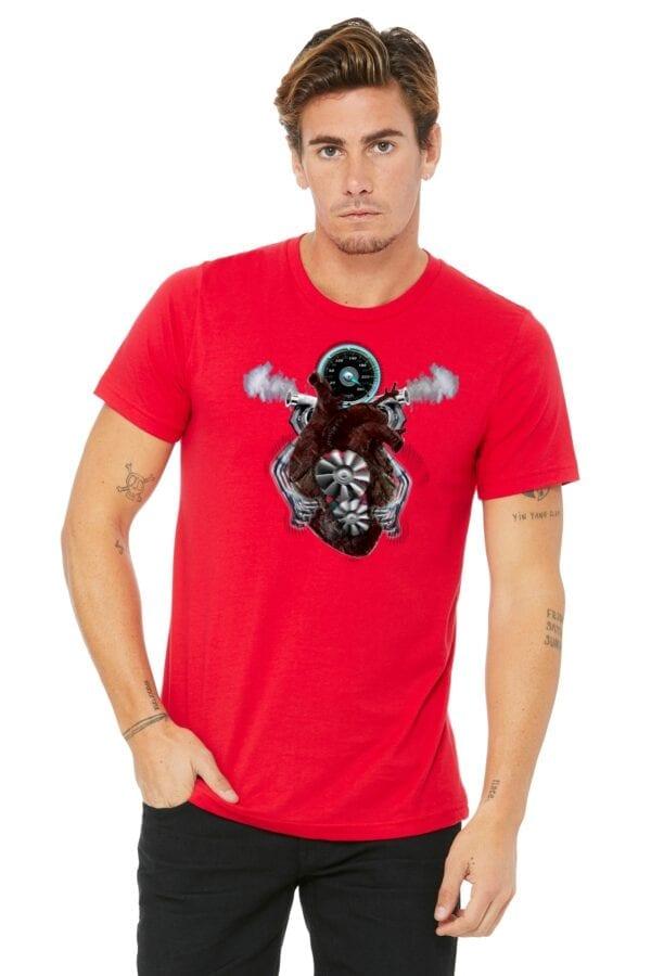 v8 turbo heart on red shirt