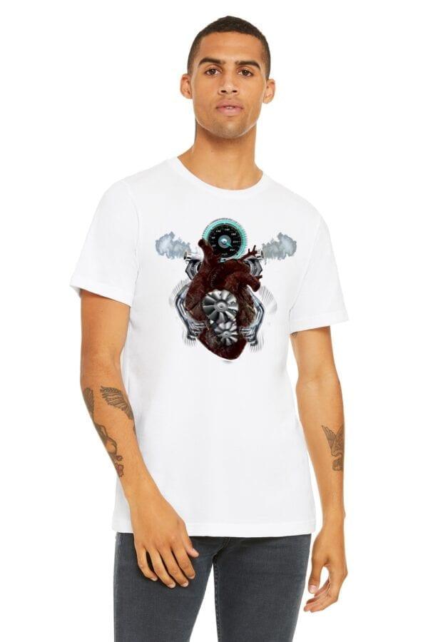 v8 turbo heart on white shirt