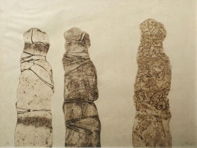 """גווילים, 1984, הדפס קולוגרף על נייר ארש, 78 על 56 ס""""מ [הוצג משכן עין חרוד]"""
