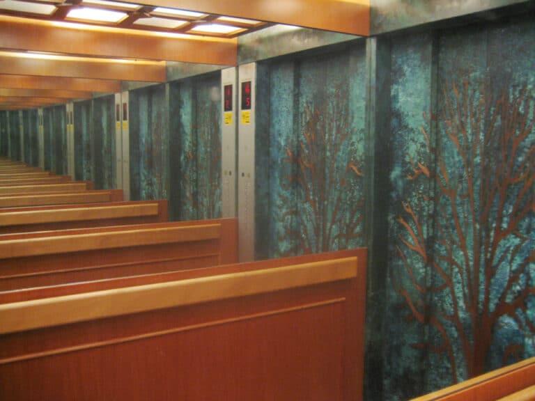 צמרות, קיר פיסולי, נחושת בעיבוד ירוקת, מלון צמרות, צפת, 1998