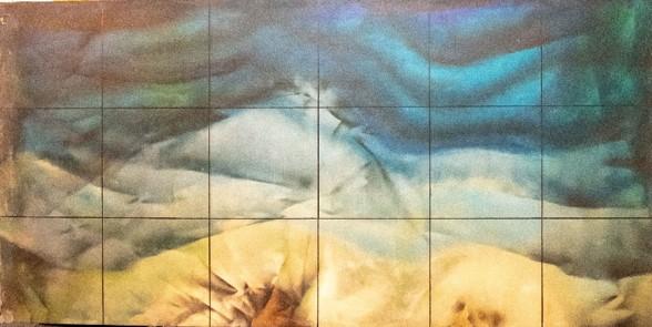 ממעוף הציפור, ציור על בד מקומט,פרט, מתנס יפו, 1982