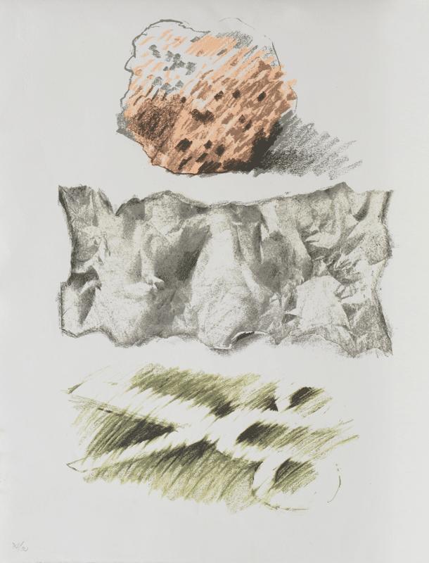"""אבן נייר ומספרים, 1978, הדפס רשת 7050 ס""""מ, אוסף מוזיאון ישראל, ירושלים"""